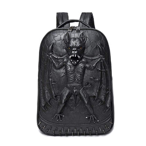 3D Animal Backpack Evil Bat PU Rock Stud Backpack Waterproof And Wear-Resistant Computer Bag