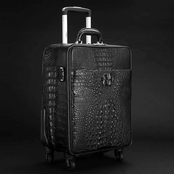 Crocodile Leather 4-Wheeled Trolley Case Travelling Luggage Bags