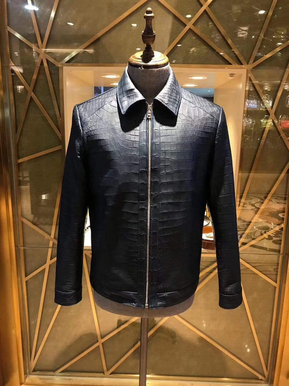 Crocodile Leather Jacket Men Black Jacket