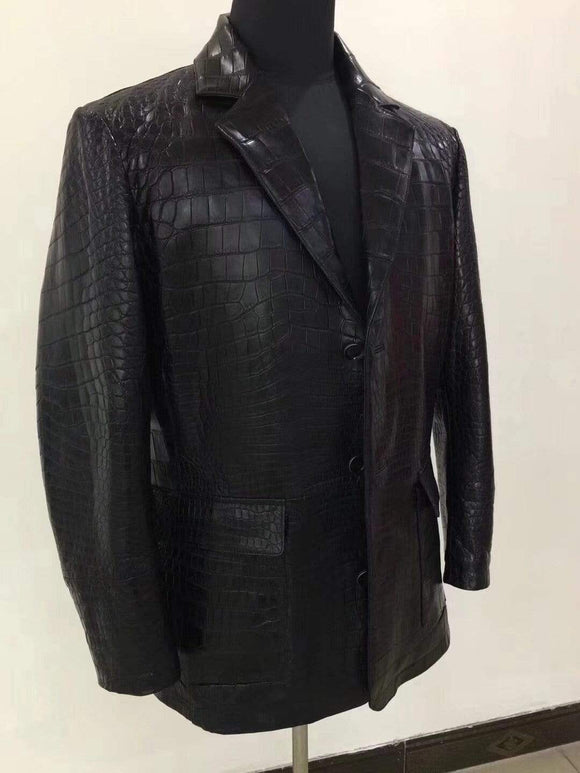 Crocodile  Leather Standing Collar Point Jacket