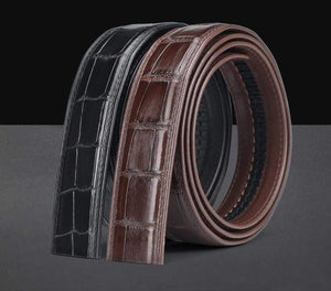 Crocodile Skin Belly Leather Waist Belt Without Buckle