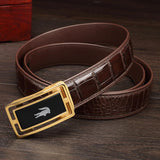 Crocodile Skin Leather Belt With Stone 4265