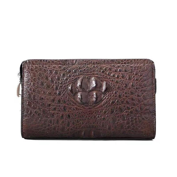 Crocodile Skin Leather Business Code Lock Wallet With Wrist Strap Credit Card Cash Clutch Bags