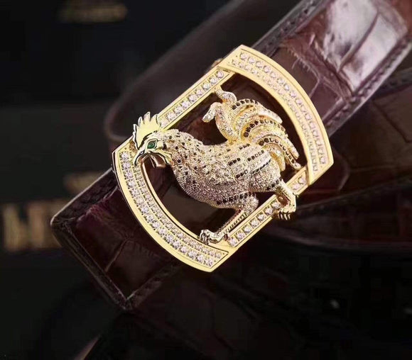 Crocodile Skin  Rooster Belt With Diamond