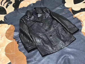 Exotic Crocodile Skin  Black Long Jacket With Zip  for Men