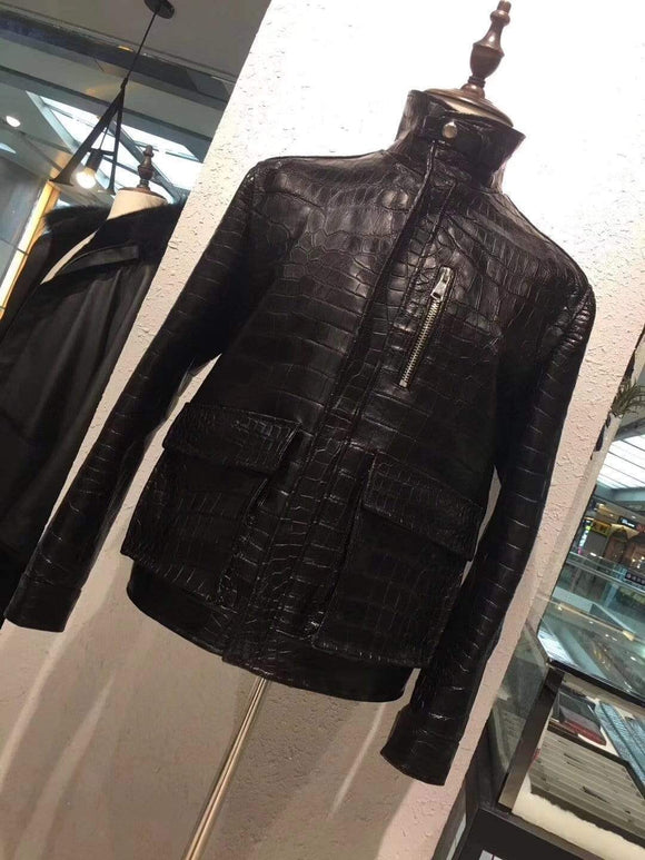 Exotic Crocodile Skin Vertical collar Jacket for Men