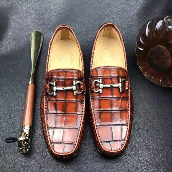 Exotic Genuine Crocodile Belly Loafers Dress Shoes