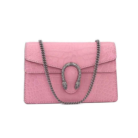 Genuine Crocodile Belly Leather Flap Cross body Messenger Min Chain Bag Pink