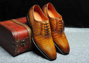 Genuine Crocodile Belly Leather Lace-Up  Shoes  For Men