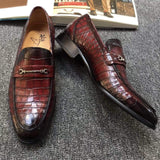 Genuine Crocodile Belly Leather Shoes  Mens Lofers  Slip On Driving Shoes Casual Flats With Brogue Detail (Tuscania)