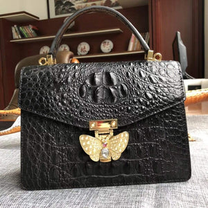 Genuine Crocodile  Bone  Leather Top Handle Shoulder Bag