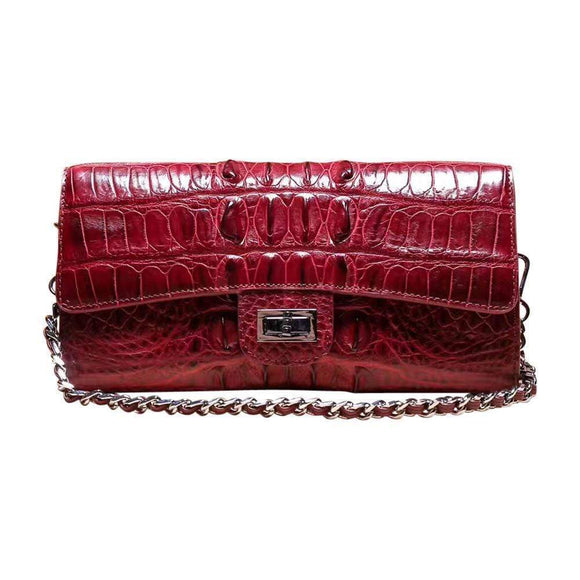 Genuine Crocodile Leather Front Flap Shoulder Bags With Chain