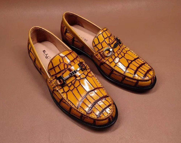 Genuine Crocodile Leather Penny Loafers  Slip-On Shoes