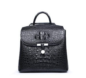 Genuine  Crocodile Leather  Toggle Clasp Backpack For Women