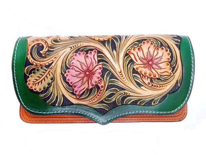 Genuine Retro leather handmade carving floral women purse wallet