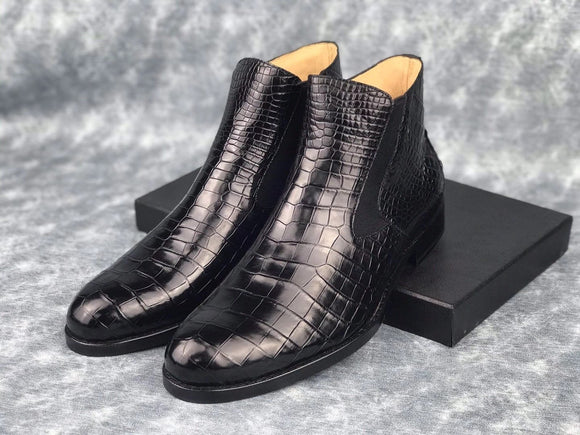 Genuine Skin Crocodile Leather Chelsea Ankle Boots