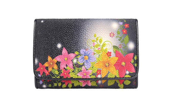 Genuine Stingray Leather Clutch Wallet Floral Printing