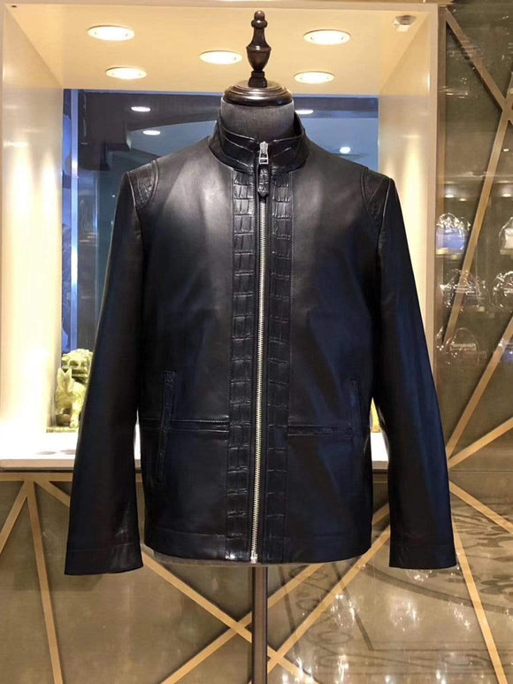 Goatskin Leather With Crocodile Belly Leather Trim  Biker Bomber Jacket For Men