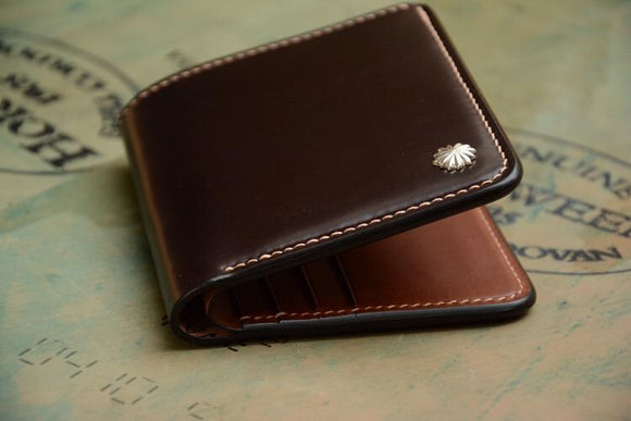 Handmade US Horween Shell Cordovan Leather Short Wallet Multi-card Holder Simple Wallets