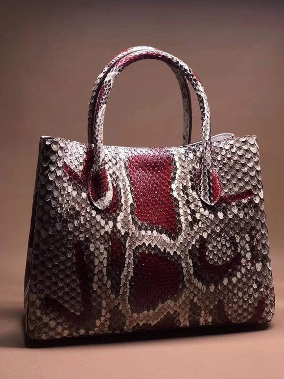 Large  Red Python Leather Tote Shoulder Bags & Handbags For Women