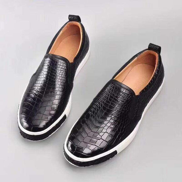 Luxury Men Soft Crocodile Leather Driving Shoes  Slip on Flats Walking Shoes