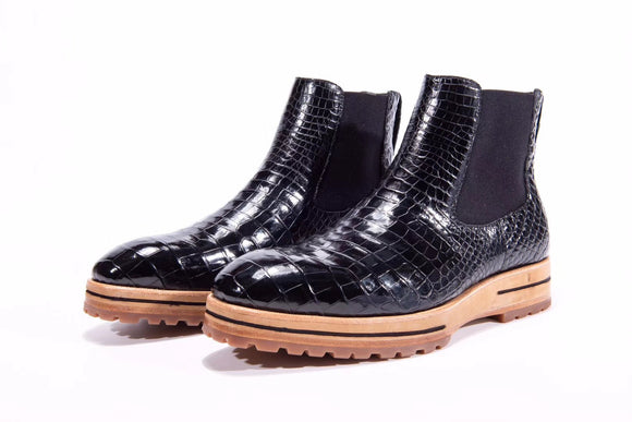 Men's Chelsea Boots, Genuine Crocodile Skin Leather Non-Slip Casual Dress Ankle Boots Black