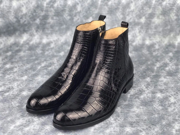 Men's Chelsea Shoes, Genuine Crocodile Skin Leather Ankle Boots, Mens Zipper Boots