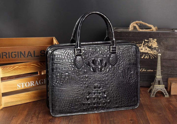 Men's Crocodile Leather Briefcase,Top Handle Bags