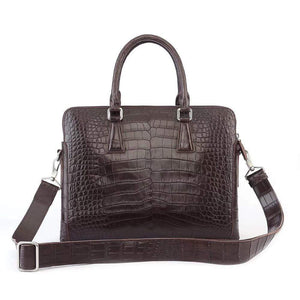 Men's Crocodile  Leather Laptop Bags Briefcase Brown