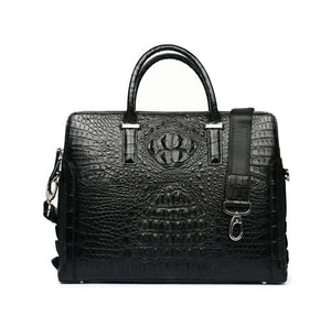 Men's Genuine  Crocodile Leather Shoulder Tote  Attache Briefcase Laptop Bag Portfolio Computer Bag