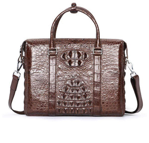Men's Genuine Crocodile  Skin Leather Business Briefcase Bag