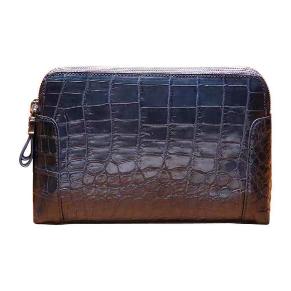 Men's Genuine Crocodile Skin  Leather  Clutch Bag With Double Zip