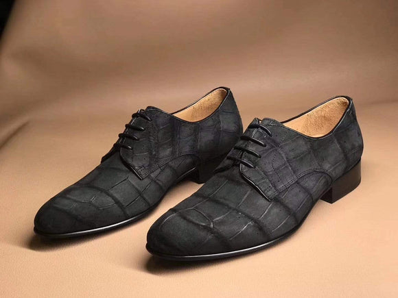 Men's Grey Soft  Genuine Crocodile Leather Derby Shoes