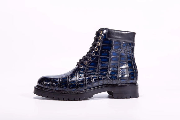 Mens Boots Genuine Crocodile Skin Leather High-top Lace Up  Anti-Slip Boot Vintage Blue