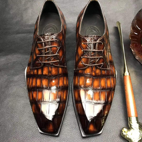 Mens Brushed Vintage Brown Color Square Toe Lace Up Genuine Crocodile Leather Dress Shoe