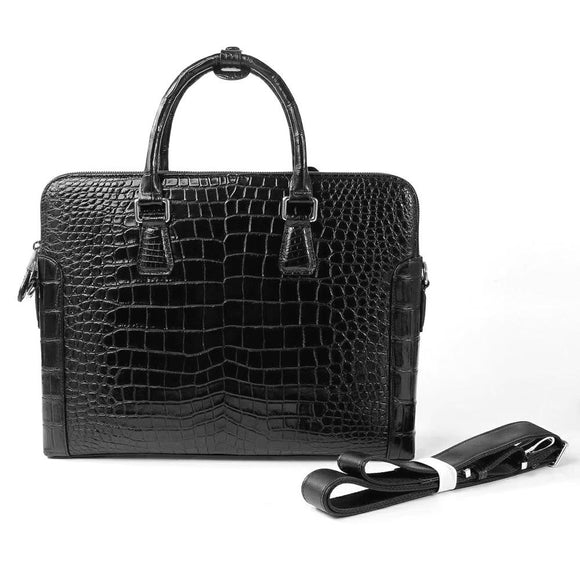 Mens Crocodile Belly Leather Briefcase Black