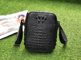 Mens Crocodile Bone Leather Cross Body Messenger Bag Black