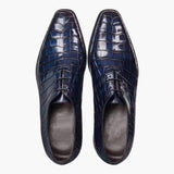 Mens Crocodile Derby Lace-up Dress Shoe Vintage Blue