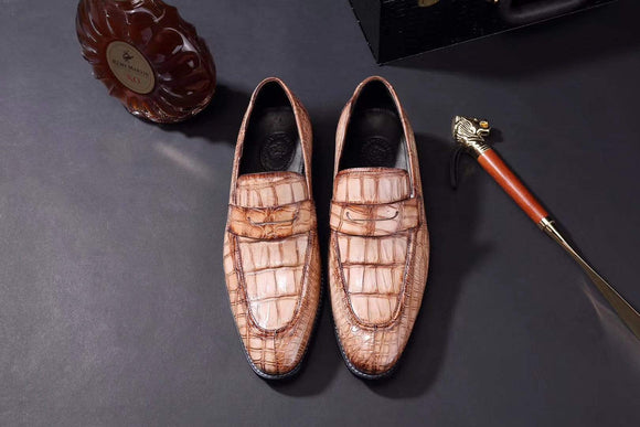 Mens Crocodile Leather Penny Loafer Shoes