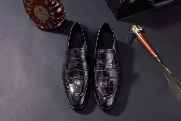Mens Crocodile Leather Penny Loafer Shoes Black