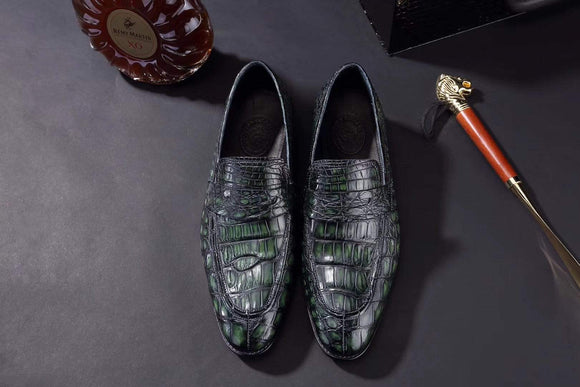 Mens Crocodile Leather Penny Loafer Shoes Vintage Green