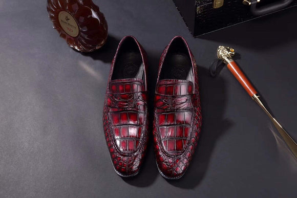 Mens Crocodile Leather Penny Loafer Shoes Vintage Wine Red