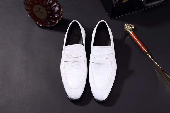 Mens Crocodile Leather Penny Loafer Shoes White