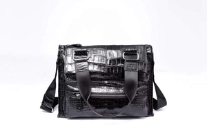 Mens Genuine Crocodile Leather Briefcase Messenger Bag