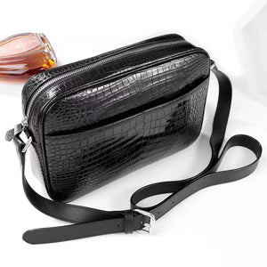 Mens Genuine Crocodile Leather Cross Body Shoulder  Messenger Bag