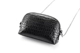 Mens Half Round Cross Body Clutch Bag With Wrist Handle Genuine Crocodile Leather Cell Phone Chain Shoulder Purse For Shopping And Travel