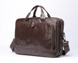"Mens Leather Briefcase 14""Laptop Large Volume Multi-Functional Business Bags"
