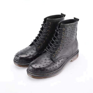 Ostrich Leather Classic Unisex 8-Eye Boots