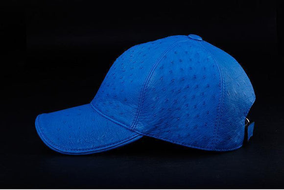 Ostrich Leather Strap back Baseball Cap Blue