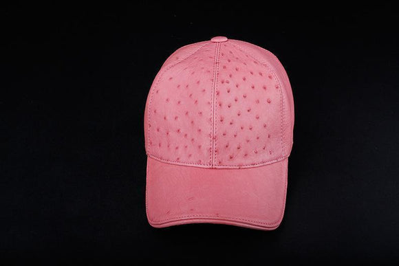 Ostrich Leather Strap back Baseball Cap Pink
